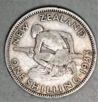 NEW ZEALAND 1933 SHILLING SILVER COIN