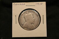 1910 CANADA SILVER 50 CENTS. VICTORIAN LEAVES R TYPE.