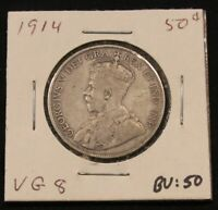 1914 CANADA SILVER 50 CENTS. BETTER DATE COIN. VG8. BV $50