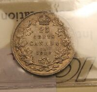 1919 CANADA SILVER 25 CENTS ICCS VF 30 CERTIFIED.