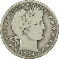 1914 S 50C BARBER SILVER HALF DOLLAR US COIN VG GOOD