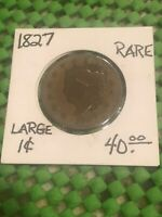 1827 CORONET HEAD LARGE CENT G VG DETAIL  RARE DATE UP FOR A