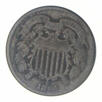 TWO CENT   1864 US TWO 2 CENT PIECE   FIRST COIN WITH IN GOD