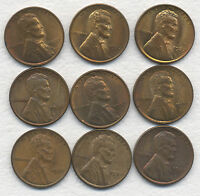 NINE 1937 LINCOLN 1 INCL. 7 UNC W/SOME RED, GOLD, & RAINBOW TONING & 2 AU