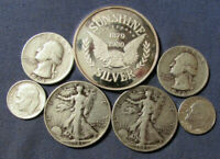 LOT 6 US SILVER COINS & 1 OZ .999 FINE SILVER SUNSHINE MINT