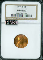 1971-S LINCOLN CENT NGC MAC MINT STATE 66 RED FMS OR FULL MEMORIAL STEPS