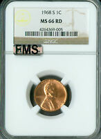 1968-S LINCOLN CENT NGC MAC MINT STATE 66 RED FMS OR FULL MEMORIAL STEPS