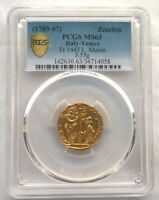 VE ITALY 1789 L.MANIN ZECCHIN PCGS MINT STATE 63 GOLD COIN,UNC,3.55G