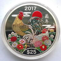 COOK 2017 YEAR OF ROOSTER 25 DOLLARS 5OZ SILVER COIN,PROOF