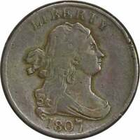 1807 HALF CENT CHOICE F UNCERTIFIED