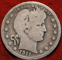 1911 D DENVER MINT SILVER BARBER QUARTER