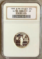 NGC PF 69 ULTRA CAMEO 1999 S PA 25C STATE QUARTER SILVER COI