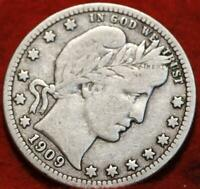 1909 O NEW ORLEANS MINT SILVER BARBER QUARTER