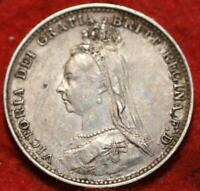 1887 GREAT BRITAIN 3 PENCE SILVER FOREIGN COIN