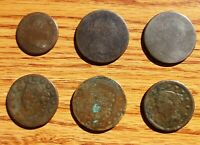 SIX ASSORTED OLDER UNITED STATES COPPER COINS 1797   1844 LA
