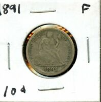 1891 UNITED STATES SEATED LIBERTY DIME 10C COIN EP443