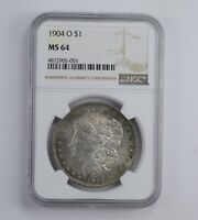 MINT STATE 64 1904-O MORGAN SILVER DOLLAR - TONED - GRADED NGC 0880