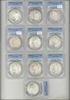 10 DIFFERENT MORGAN DOLLARS PCGS MINT STATE 63 1881 S 1881, 1882, 1888 1888-O 1890, 1896