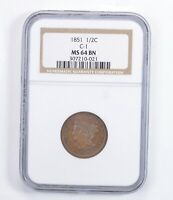 MINT STATE 64 BN 1851 BRAIDED HAIR HALF CENT - C-1 - GRADED NGC 1385