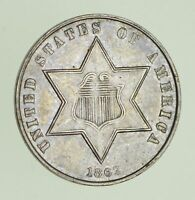 1862 SILVER THREE-CENT PIECE - CIRCULATED 1171