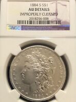 1884-S 1$ MORGAN DOLLAR, NGC AU DETAILS, WHITE SURFACES, LIGHT RUB,  DATE