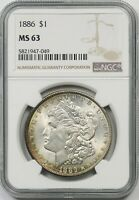 1886 $1 NGC MINT STATE 63 TONED MORGAN SILVER DOLLAR
