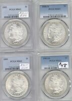 LOT 4 DIFFERENT MORGAN SILVER DOLLARS PCGS MINT STATE 63 1901-O, 1890, 1888-O, 1882