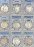 9 DIFFERENT MORGAN DOLLARS PCGS MINT STATE 65 1880-S, AND 1881-S 1882-S 1887, 1896