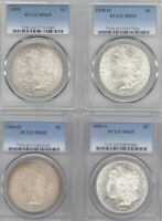 LOT 4 DIFFERENT MORGAN SILVER DOLLARS PCGS MINT STATE 65 1898-O, 1896, 1881-S, 1904-O