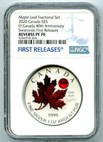 2020 $5 'O' CANADA 1 OZ SILVER NGC PF70 REVERSE PROOF FR RED