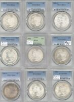 9 DIFFERENT MORGAN DOLLARS PCGS MINT STATE 64 1880-S, AND 1881-S 1879-S 1885, 1886