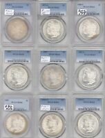9 DIFFERENT MORGAN DOLLARS PCGS MINT STATE 64 1880-S AND 1881-S 1879-S 1878-S 1886