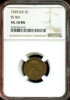 1925 S/S 1C NGC VG 10 BN GOOD 10 BROWN LINCOLN WHEAT CENT TA789