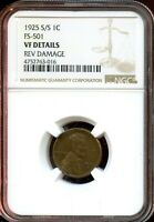 1925 S/S 1C FS-501 NGC VF DETAILS LINCOLN WHEAT CENT TA790