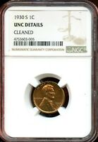 1930 S 1C NGC UNC DETAILS CLEANED LINCOLN WHEAT CENT TA794