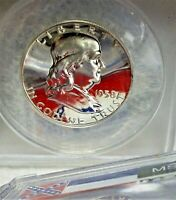 BEAUTIFUL  FRANKLIN SILVER HALF ANACS PF 66 LOOKS CAMEO GREAT MIRRORS