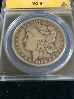 1899-O $ MORGAN ANACS VG-8, VAM-32 TOP100, MICRO O, GRAY SURFACES, AVERAGE STRIK