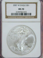 2007-W SILVER EAGLE $1 NGC MS70