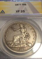 1877-P 1$ TRADE DOLLAR, ANACS  FINE-25, GRAY & BROWN, BETTER DATE,