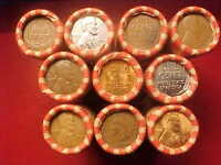 10 ROLLS LINCOLN WHEAT PENNIES 1909 VDB INDIAN ENDS LOTS OF