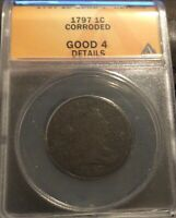1797 1C LARGE CENT, ANACS GOOD -4 DETAILS, DEEP CHOCOLATE BROWN, CORRODED,