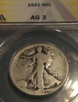 1921-P 50C WALKING LIBERTY HALF, ANACS AG-3,  DATE, NO SERIOUS PROBLEMS,