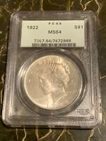 1922 PEACE SILVER DOLLAR PCGS MINT STATE 64