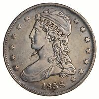 1838 CAPPED BUST HALF DOLLAR - REEDED EDGE - CIRCULATED 2586