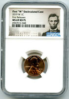 2019 W 1C LINCOLN CENT UNCIRCULATED NGC MS69 RD PL FIRST REL