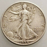 1934-P WALKING LIBERTY SILVER HALF DOLLAR - EXCELLENT DETAILS