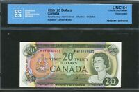 1969 $20 CANADA REPLACEMENT  WF NEAR GEM UNC 64 CCCS BC 50BA. 3149455. BV $550