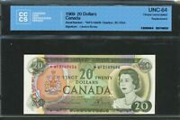 1969 $20 CANADA REPLACEMENT  WF NEAR GEM UNC 64 CCCS BC 50BA. 3149456. BV $550