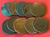 10 X 2 CENT USA COPPER WITH VARIOUS DATES 1864 1865 1870 186
