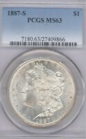 1887-S MORGAN PCGS MINT STATE 63 UNCIRCULATED SILVER DOLLAR COIN SAN FRANCISCO MINT $1